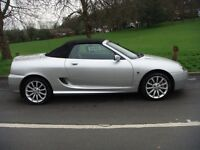 MG TF135 SUNSTORM.2004 reg 67000 mls 12 mth mot s/hist met silver suede/leather seats.lovely car.