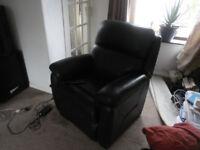 Black Leather Riser recliner armchair