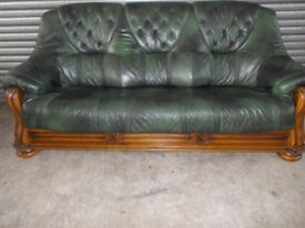 Antique Green Leather 3-1-1 Oak Frame Suite (Sofa)