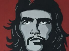 Che Guevara painting Large Canvass. Handpainted . PopArt