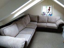 Corner sofa setter beige and brown