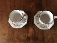 ETERNAL BEAU TABLEWARE : 2 CUPS & SAUCERS : VGC : JOHNSON Bros FINE ENGLISH TABLEWARE