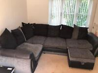 DFS Large Corner Sofa and Matching Swivel Chair with Half Moon Stool