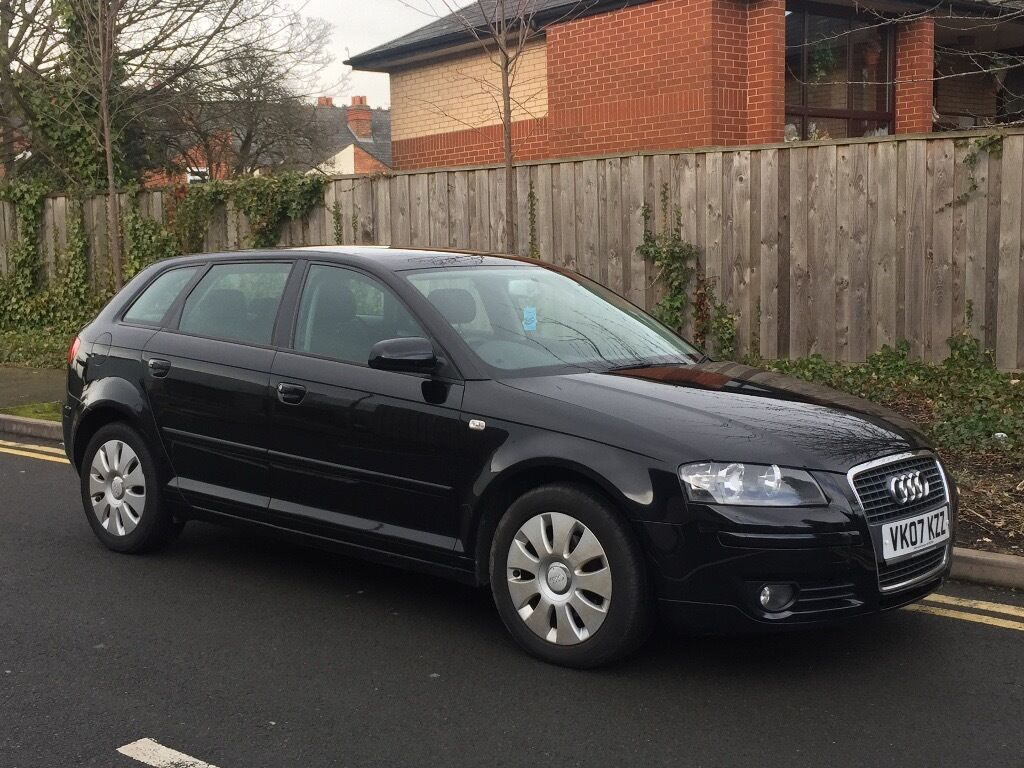audi a3 1 9 tdi sportback 5 door 2007 black full service history may part exchange in. Black Bedroom Furniture Sets. Home Design Ideas