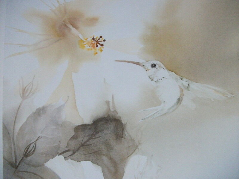 PROMISE OF FOREVER by JEANNE BONINE Watercolor Art Lithograph Print Swans