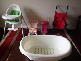 Baby highchair, stroller, tub, baby stuff