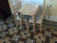practically new hardwood folding table with two upholstered chairs and small side table can deliver