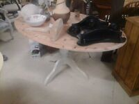 Oval Cream and Pine Sprayed Dining Table