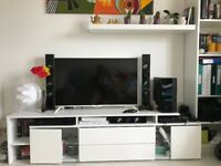 White high gloss tv bench