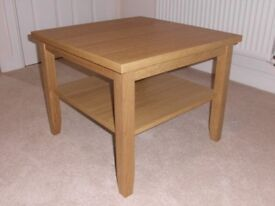 IKEA COFFEE / LAMP / SIDE TABLE. SOLID OAK LEGS AND FRAME. AS NEW CONDITION.