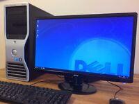 GAMING PC Dell Xeon Quad Core 3.20Ghz 16 GB Ram Ati FirePro V8700 3D Graphics + 22 24 Monitor