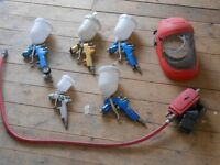Professional car spray guns (four) and air fed mask