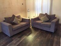 1 x 2-seater grey soft fabric sofas