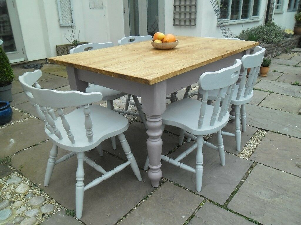 Dining table farmhouse style, plus 6 chairs, painted base and chairs, can deliver
