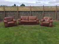 Modern 3piece brown italian leather suite