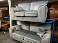 NEW - EX DISPLAY DFS ORBIA SILVER - GREY VELVET CHENILLE 3 + 2 SEATER SOFA SOFAS 70% Off RRP SASALE