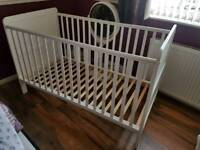 White cot bed adjustable (kiddicare)
