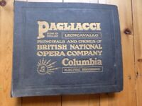 Vintage vinyl 78s record collection of the opera of Pagliacci sung in English