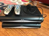 X2 sky + HD boxes with remotes and viewing cards