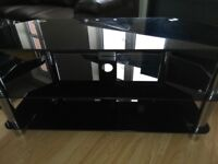Glass. Coffee table and TV unit
