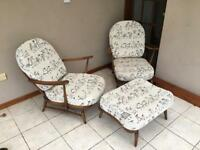 Ercol Windsor 4 piece hardwood suite, two seater sofa, two chairs and a footstool in good condition