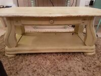 Shabby Chic Solid Oak Coffee Table with functional drawer - £70