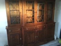 Break front bookcase. Big and beautiful, mahogany stained solid pine.