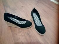 """Black wedge shoes, size uk 4, from """"Very"""" **Never Worn**"""