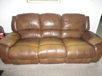 Leather 3 seater recliner sofa