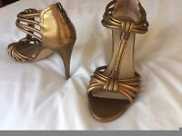 """M&S gold 4"""" high heeled sandals size 5-5"""