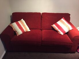 Red 3 seater sofa - excellent condition