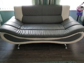 Grey & White large 2 seater and chair with matching glass top coffee table