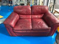2 seater red leather sofa free to collect from NG1