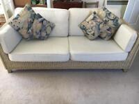 Rattan 3 seater sofa, coffee table & side table