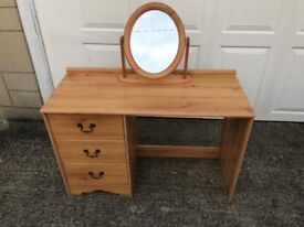 Pine wood effect dressing table, with solid Pine mirror