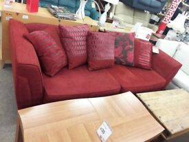 Red Fabric 4 Seater Sofa