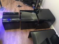 Black glass coffee table and set of 3 matching tables