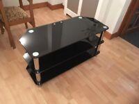 TV / Audio stand - black glass & chrome