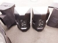 Pair of Yamaha DXR 15 SPeakers with All Weather Covers