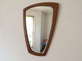 Mid Century Vintage Genuine Danish Abstract Organic Teak Bevelled Wall Mirror