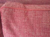 Great, quality sofa bed, piped cushions. Solid, rusty red/beige natural cover