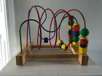 Wooden wire bead maze