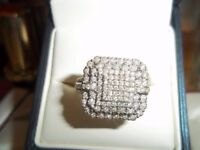 LARGE DIAMOND RING ,SIZE Q1/2 EXELLENT CONDITION