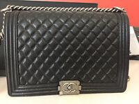 BRAND NEW BOXED Chanel le boy black caviar leather silver hardware