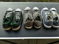 3 pairs of converse size 9. All 3 for 15 pounds.