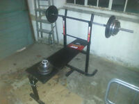 Weights bench for sale - with 60kg and bar