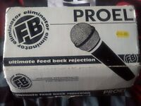 Proel Feedback Eliminator FB50 Microphone Mic with XLR jack cable wire Boxed studio