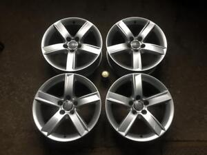 "4 AUDI 17"" FACTORY ORIGINAL 5 SPOKE POWDER COAT SILVER MAGS WITH TPMS SENSORS"