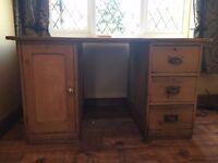 Large vintage pine desk