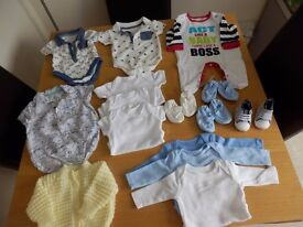 BOYS 0-3MONTHS A LOT NEVER BEEN WORN PLUS 4 PAIRS OF SHOES